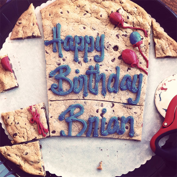 Happy Birthday Brian half eaten cookie cake