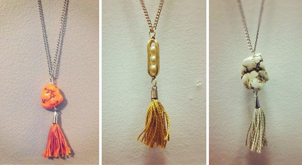 three handmade necklaces