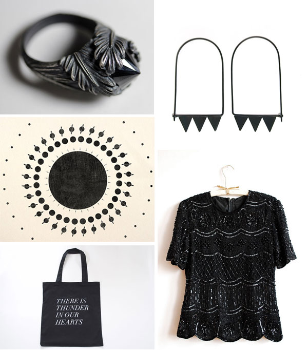 black handmade accessories and vintage clothing