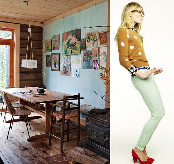 mint green interiors and fashion