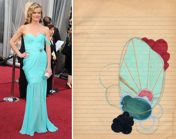 Missi Pyle at the 2012 Oscars red carpet