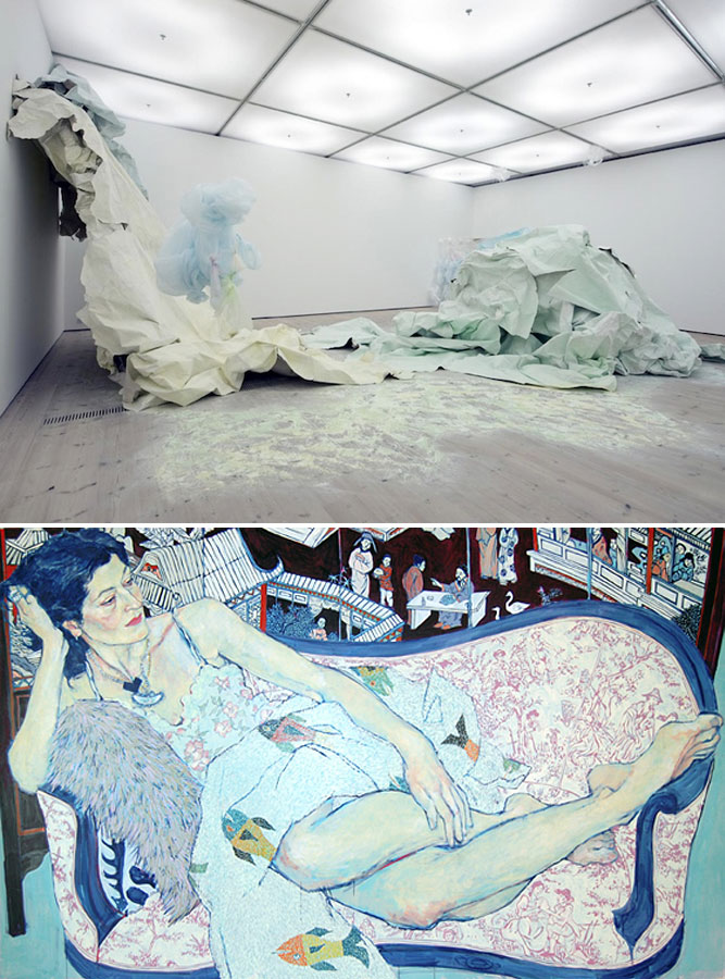 installation by Karla Black; painting by Hope Gangloff