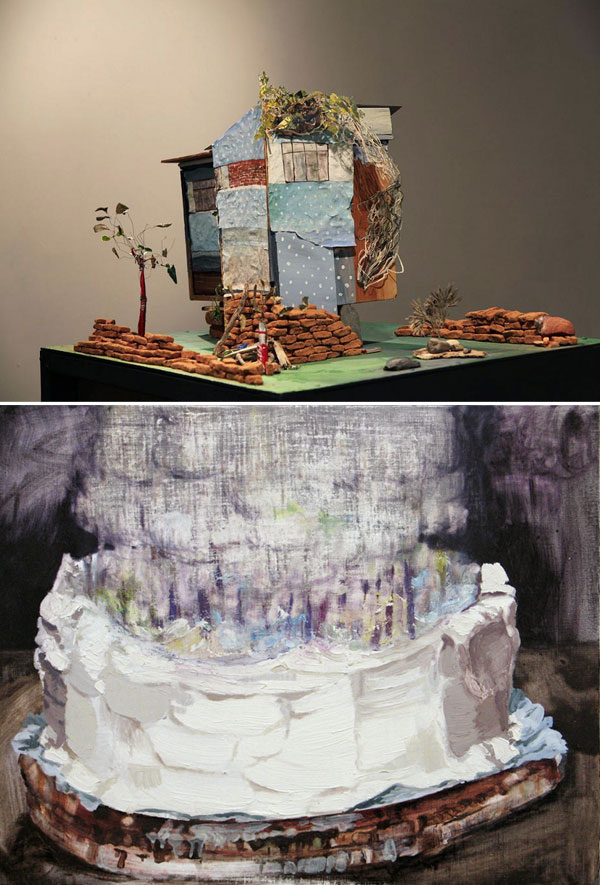 sculpture by Sarah Dougherty and painting by Clare Grill