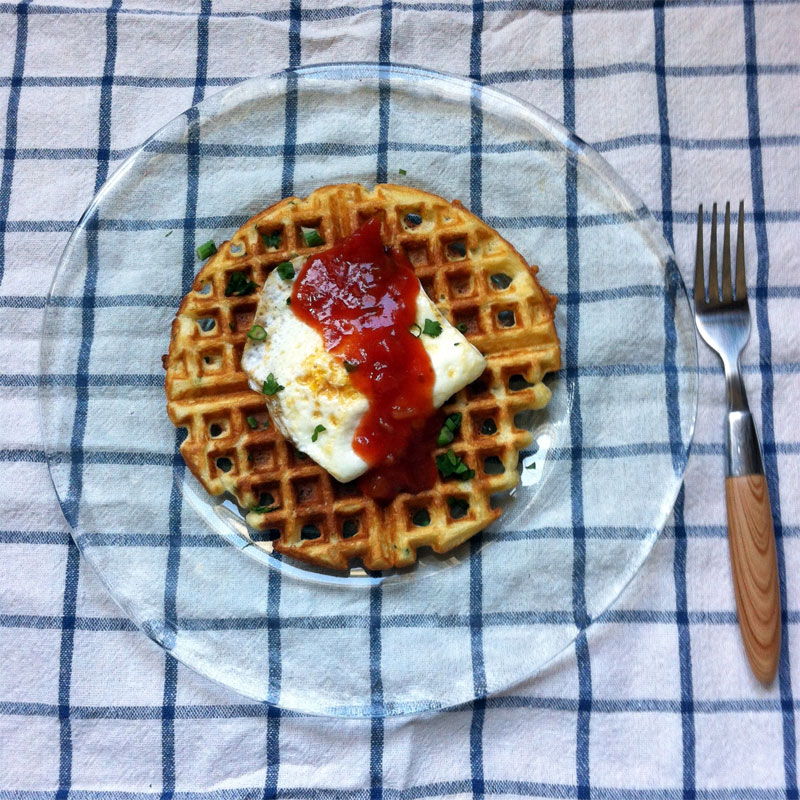 savory chive waffles with salsa and egg