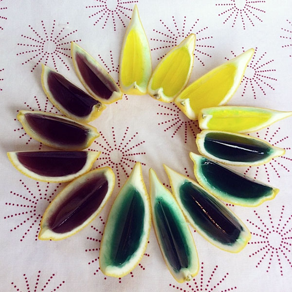 margarita jello shots in lemon slices