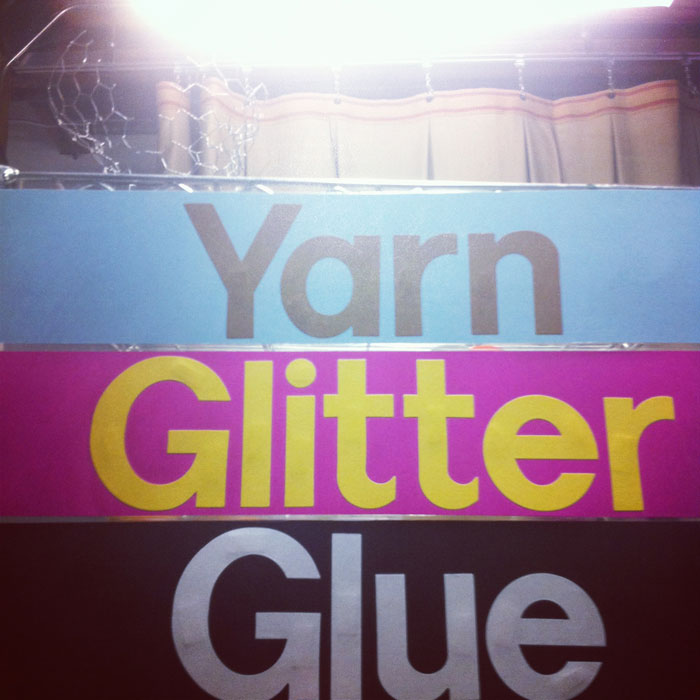 Columbia College Chicago Work Room: yarn, glitter, and glue