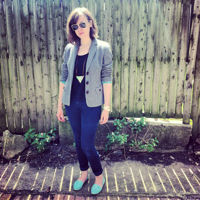 Sarah West Ervin in spring blazer fashion