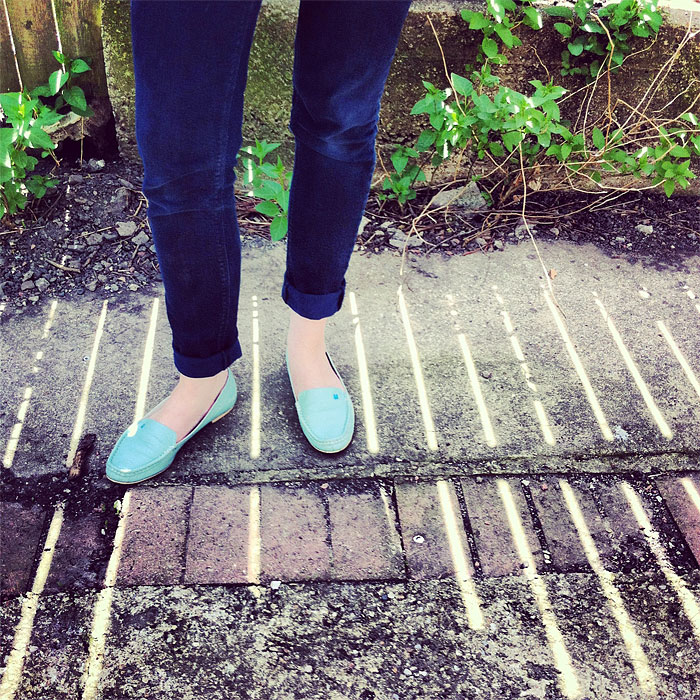 Sarah West Ervin in Le Bunny Bleu turquoise loafers