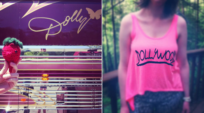 Dolly Parton's tour bus and a hot pink souvenir tank top from Dollywood