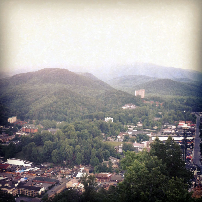 sky line view of Gatlinburg, Tennessee and Crockett Mountain