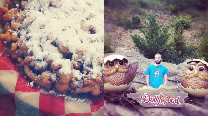funnel cake and owls at Dollywood