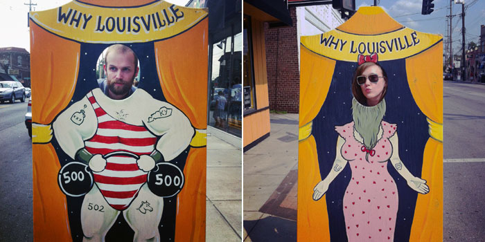 Brian West, the strongman, and Sarah Ervin, the bearded lady