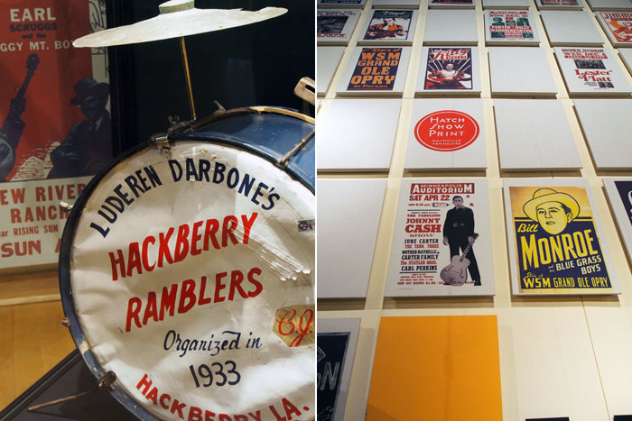 Hackberry Ramblers and Hatch Show Print Wall at Nashville's Country Music Hall of Fame and Museum