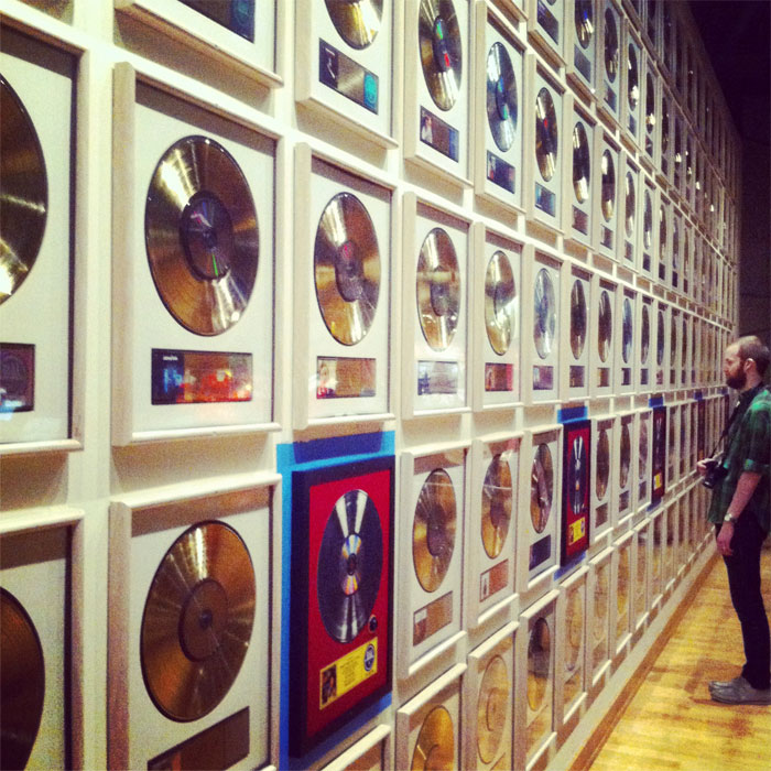 wall of gold records at Nashville's Country Music Hall of Fame and Museum