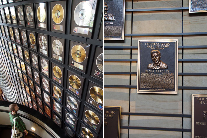 gold records and Elvis Presley at Nashville's Country Music Hall of Fame and Museum