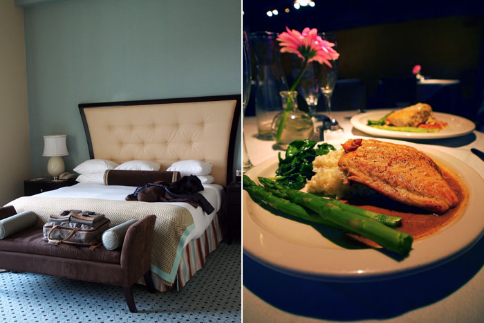 Union Station hotel bed and salmon dinner at the Germantown Cafe in Nashville, TN