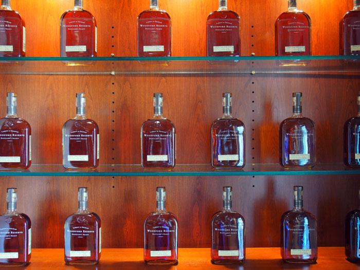 bottles of Woodford Reserve bourbon