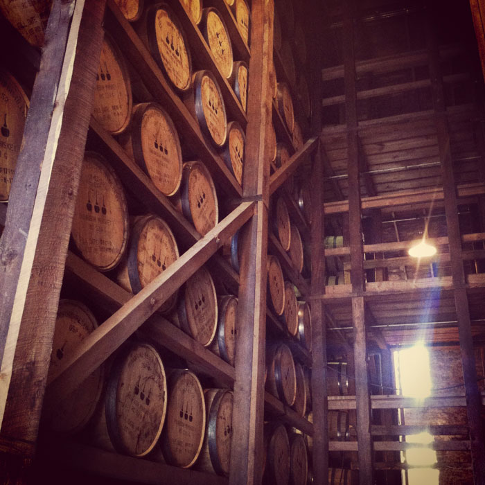 barrels of Woodford Reserve bourbon