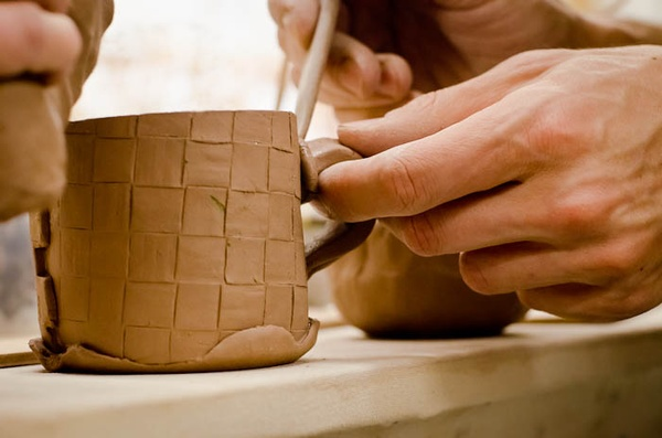 Handbuilt clay mug at Lillstreet