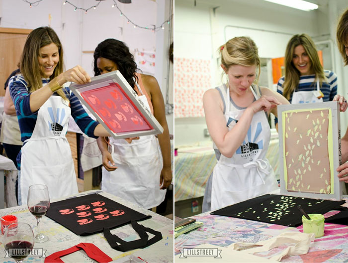 revealing their screenprinted totes