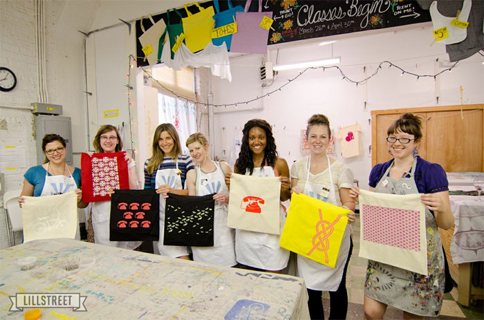 screenprinting tote bag party at Lillstreet with Events by Willow