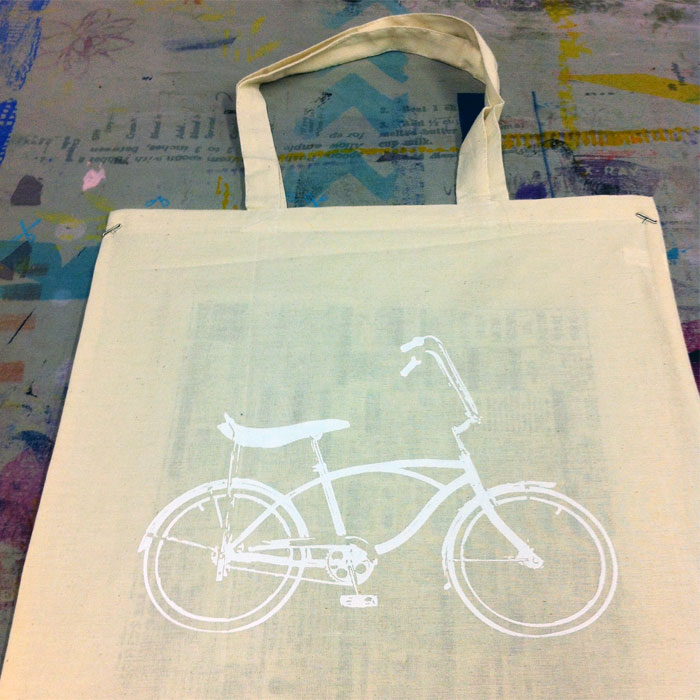 vintage bicycle screenprint tote Laura Bock
