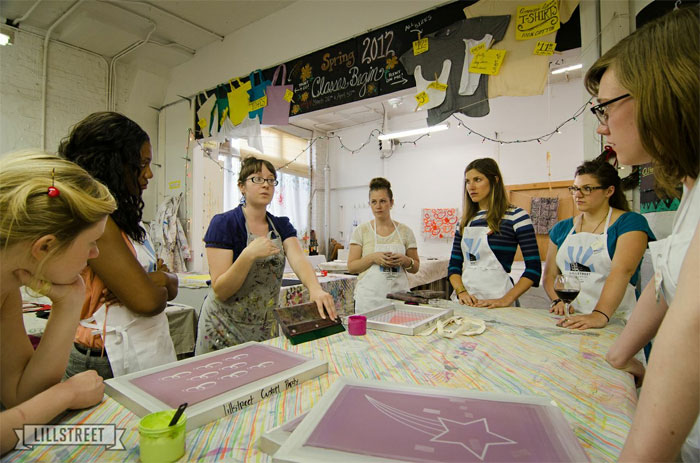 Lillstreet teacher, Nora, shows us gals how to screenprint