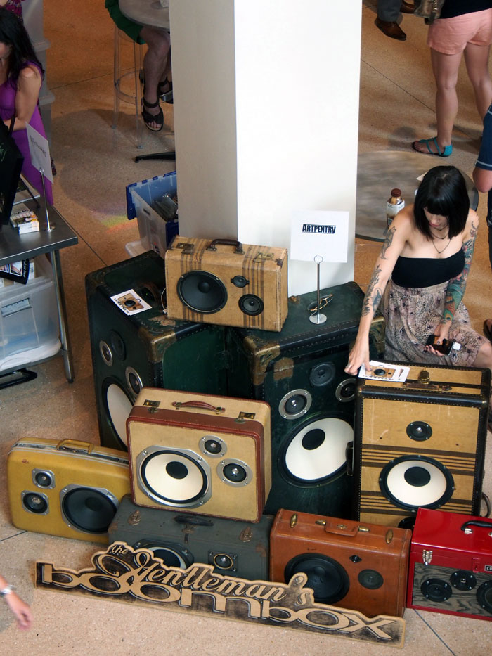 upcycled speakers at Dose Market