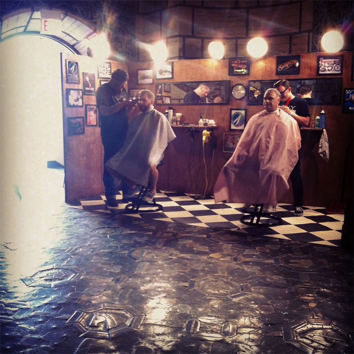 a travelling barbershop at The Vintage Bazaar in Chicago's Aragon Ballroom