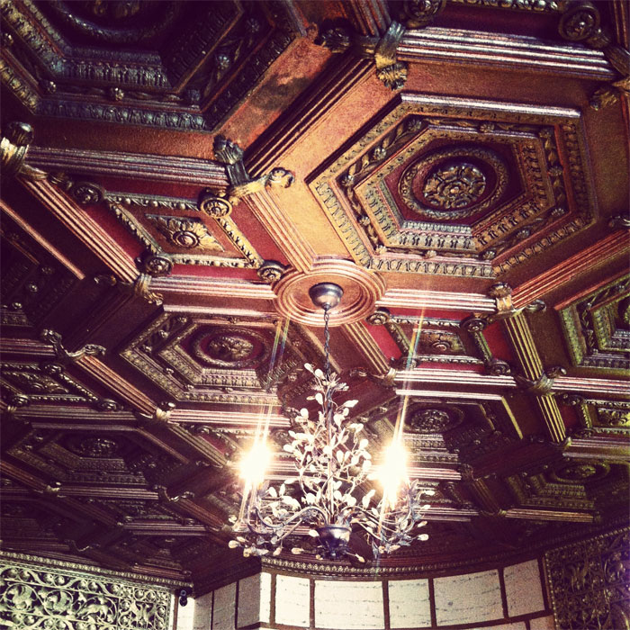 antique elegance: chandelier and ceiling at The Aragon Ballroom