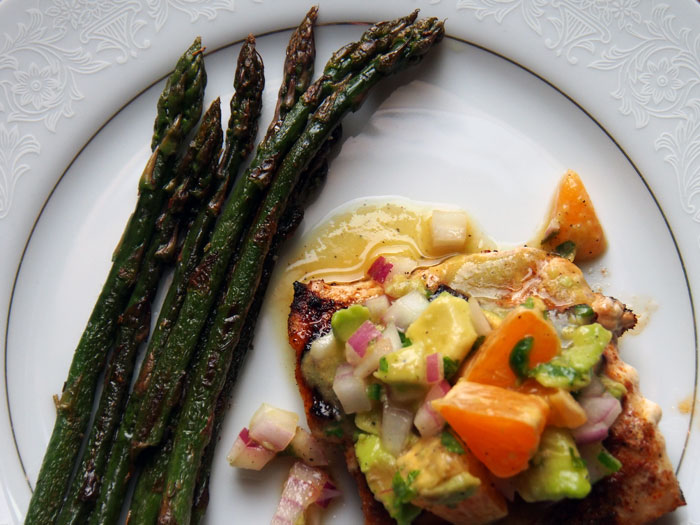 Citrus Mahi Mahi with Avocado Salsa and Asparagus