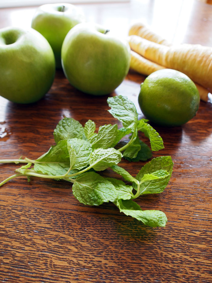 fresh apples, parsnips, and mint