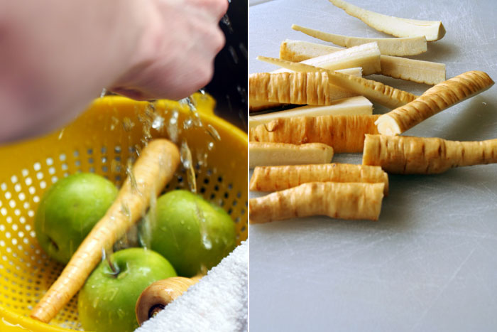 washed and cut apples & parsnips