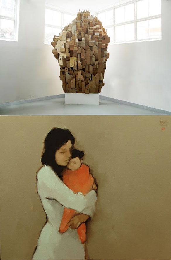 """Cardboard Heaven"" by Nina Lindgren; ""Mother and Child"" by Nguyen Thanh Binh"