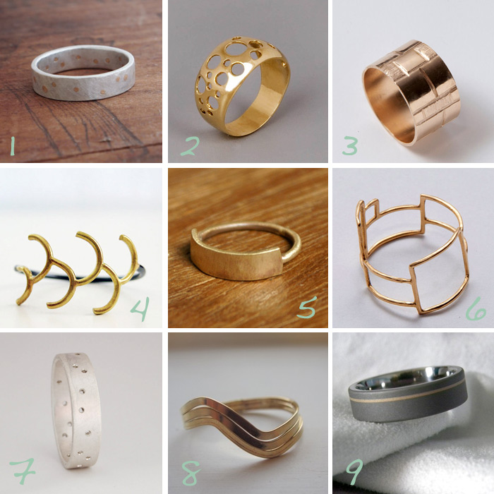 handmade geometric gold and silver wedding bands