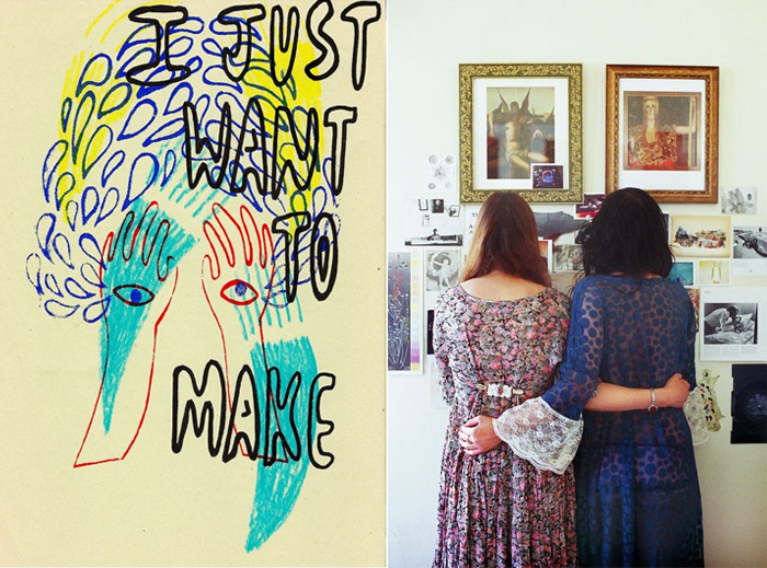 """I Just Want to Make"" by Rebecca Volynsky; Untitled by Ashlie Chavez"