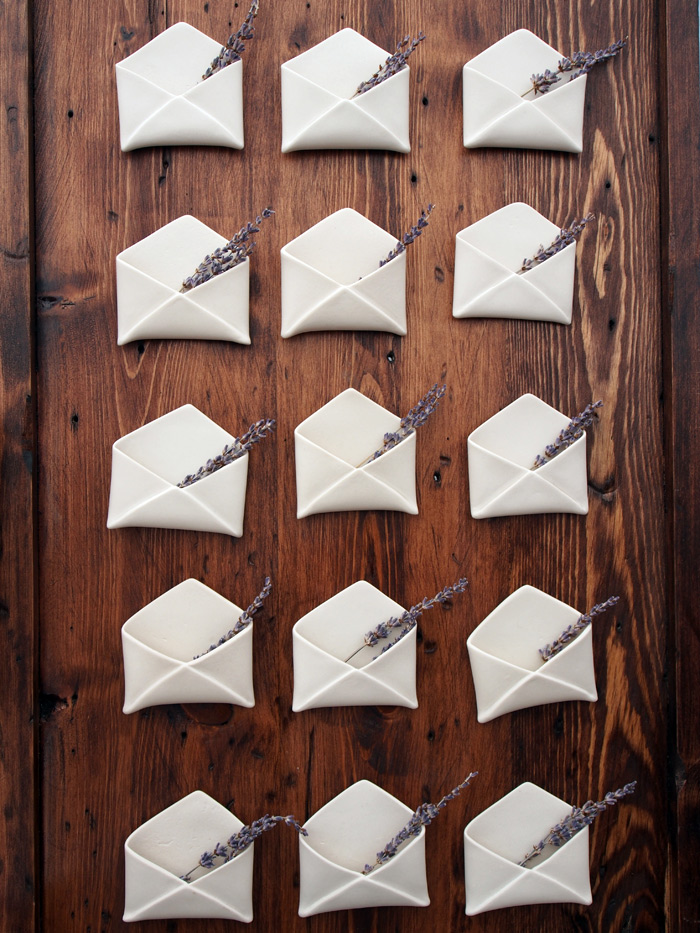 handmade porcelain envelopes from Redraven