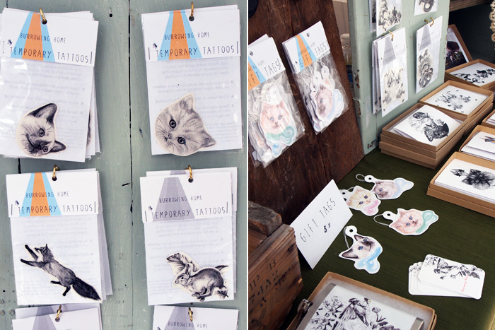 temporary tattoos and illustrations from Burrowing Home