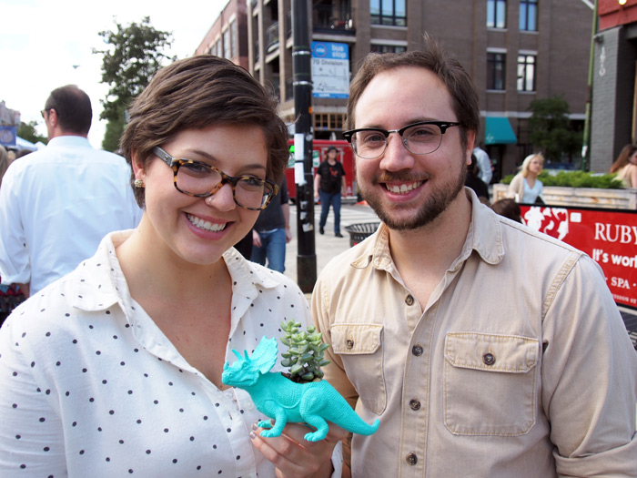 Laura Bock and Jonathan Thomason with their new Dino Planter