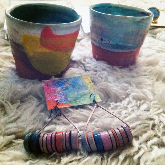 handmade ceramic cups and earrings from Ship & Shape