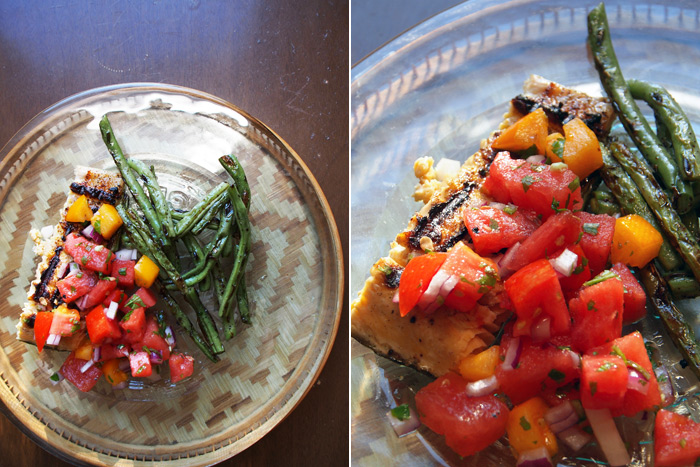 Grilled Salmon with Tomato & Watermelon Salsa