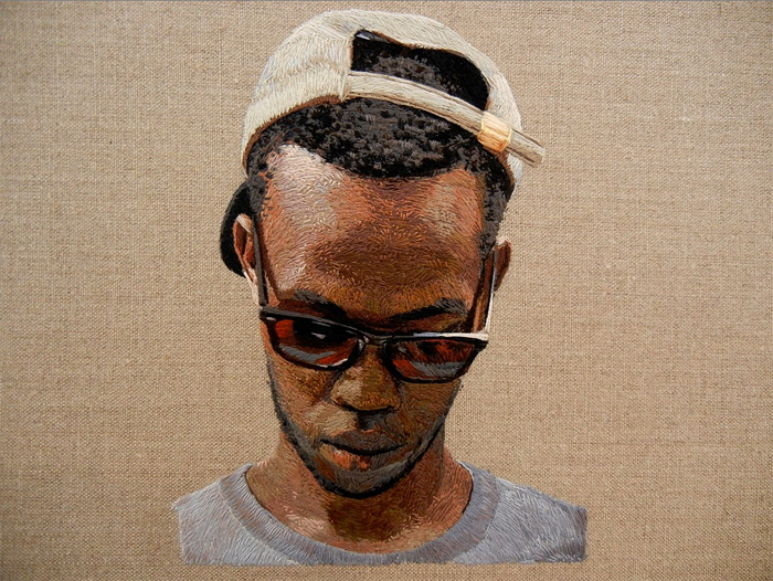 embroidered portrait by Daniel Kornrumpf