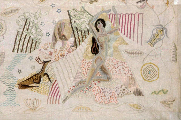 detail of embroidered panel by Marguerite Zorach
