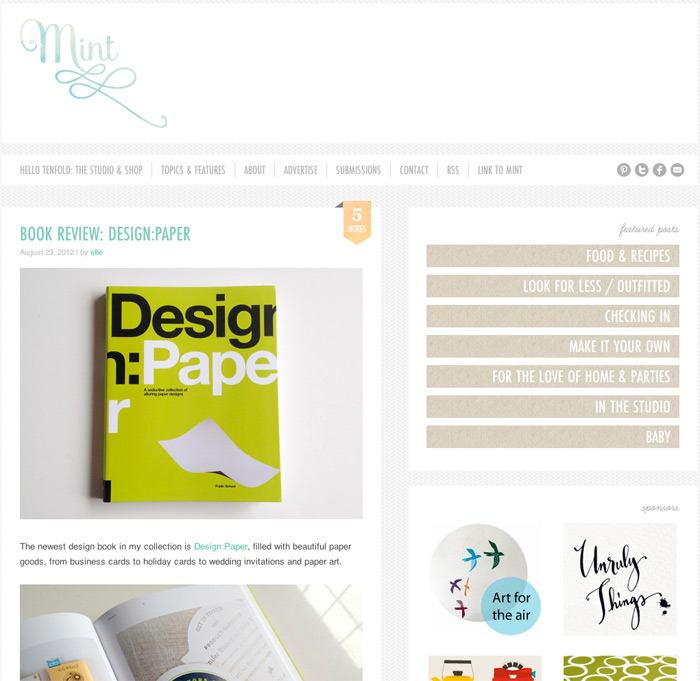 Screengrab: Westervin featured on Mint Design Blog