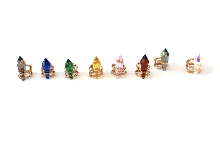 Pauli Ochi Jewelry: multicolor crystal rings