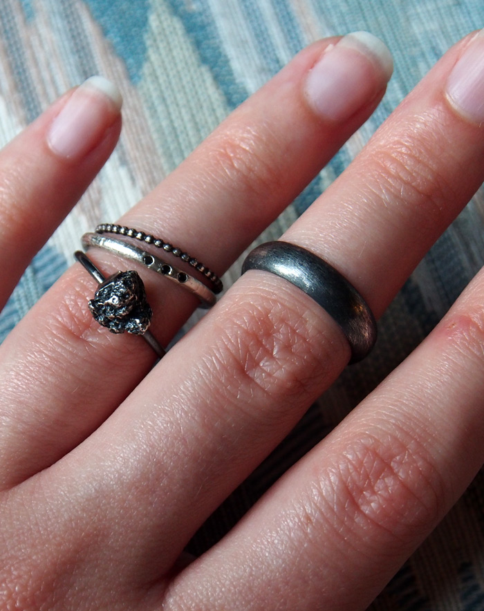 oxidized silver wedding rings