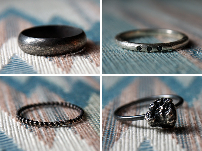 Set Of Handmade Silver Wedding Bands