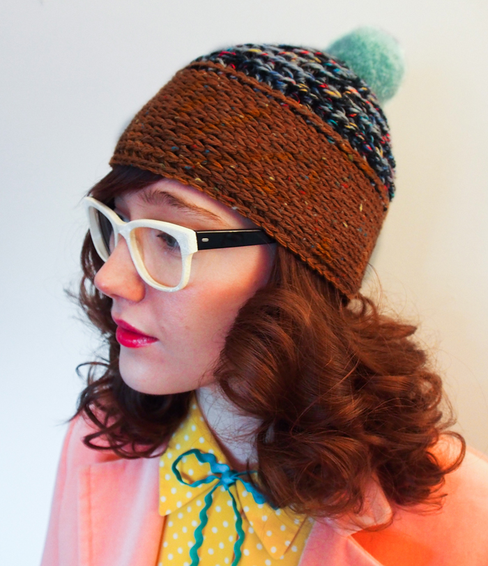 mint and brown handmade pompom hat by Westervin