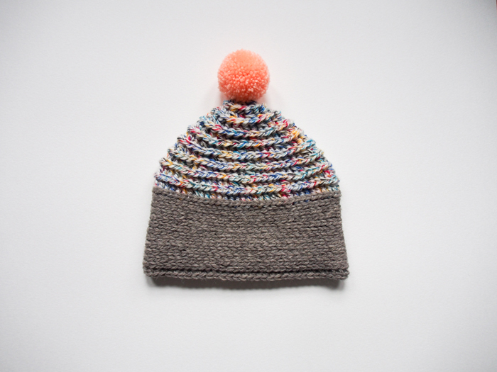 peach and gray handmade pompom hat by Westervin