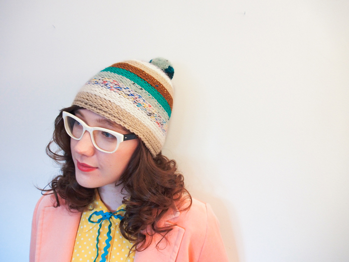 teal and brown handmade pompom hat by Westervin